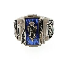 Eagles CP W 2000 Class School Ring 10K White Gold Blue Topaz 13grams