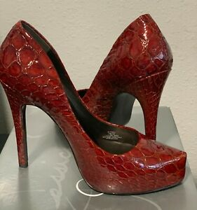 Jessica Simpson Parigi Women's Shoes Size 7 M Red Pointed Toe High Heels Snake