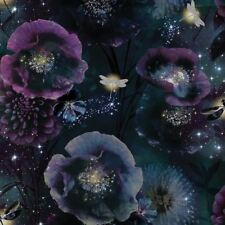 Arthouse Nocturnal Purple Teal Glitter Luxury Floral Feature Wallpaper 692301