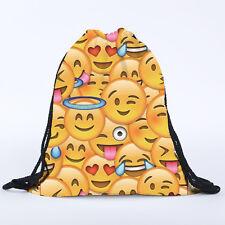 Emoji Girls Boys Kids Drawstring Swim Sport Shoe Dance Bag Schoolbag Backpack PE