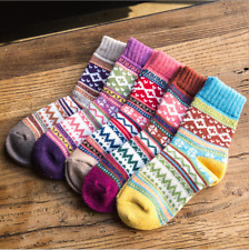 5 Pairs Womens Wool Cashmere Casual Warm Thick Multi-color Boot Winter Socks 5-9