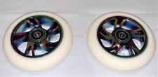 Pro Metal Core Scooter Wheels 110mm Pair - White/Neo w/ABEC-9 Bearings