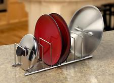 Kitchen Cabinet Dish Organizer Storage Plate Holder Steel Rack Utensil Shelf Lid