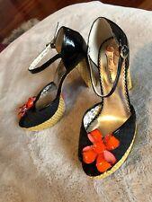 Poetic Licence Shoes Black w/Wicker Block Heel Platform w/flower gingham plaid 7