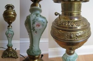 antique oil lamp SOLID BRASS electric HAND PAINTED FLOWERS tall GLASS works!