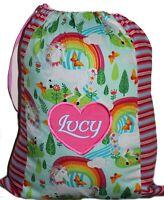 Kids Personalised Drawstring Library Bag - Prancing Unicorns -  First name FREE