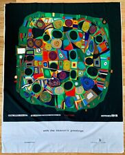 "HUNDERTWASSER Screen Printed Fabric ""le jardin des morts heureux"" Texoprint Rare"