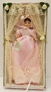 """4"""" Porcelain Joyful Baby Doll In Pink Gown By Show Stoppers Mint In Original Box"""