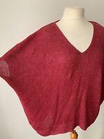 Massimo Dutti Knit Jumper 100% Linen Burgundy Size M Boxy Wide Fit Kimono style