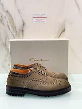 Santoni Uomo Stringata In Suede Verde Salvia Luxury Shoe 43