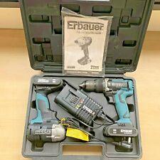 BRUSHLESS ERI716KIT Erbauer Combi Drill eri691com + Impact Driver ERI692IPD TWIN