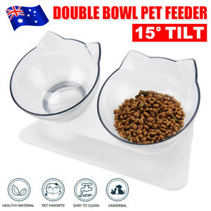 Double Elevated Pet Bowl Bowls Stand Cat Dog Feeder Food Water 15° Raised Lifted