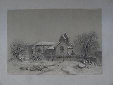 RARE DESSIN XIX° PAYSAGE EGLISE CAMPAGNE NEIGE DRAWING CHURCH LANDSCAPE 1866