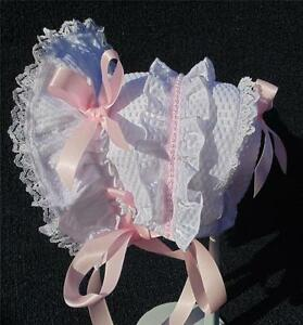 New Handmade White Searsucker with Pink Bows and Pearls Baby Bonnet