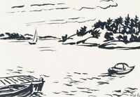 H.WINGLER (*1896), Steg in den Schären, 1962, Filzstift