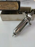 Vintage Champion Veterinary Syringe with extra tips