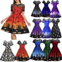 af93375da11 Women Short Sleeve Halloween Retro Lace Vintage Dress A Line Pumpkin Swing  Dress