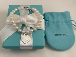 """Tiffany & Co Silver Heart Tag Freshwater Pearl Bracelet 7.25"""". 7-8mm Pearls"""