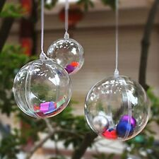 100mm Clear Plastic Acrylic Fillable Ball Ornament - Package of 6