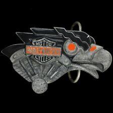Vtg Harley Davidson Motorcycle Eagle Bar Shield Logo Emblem V-Twin Belt Buckle
