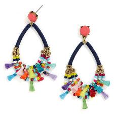Merengue Drops Hoop Earrings Statement Beads and Miniature Tassels Crisp Cluster