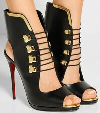 CHRISTIAN LOUBOUTIN TROUBIDA LACE FRONT BLACK LEATHER OPEN TOE SHOES BOOTIES 38
