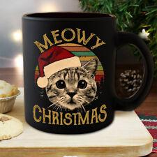 Santa Cat Meowy Christmas Vintage Mug Black Ceramic 11oz Coffee Tea Cup