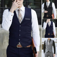 Mens Formal Business Casual Dress Vest Suit Slim Fit Tuxedo Waistcoat Coat M-3XL