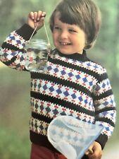 FB61 - Knitting pattern For Children's DK Crew Neck Patterned Jumper - Child's