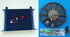 Universal 15 Row 10an Universal Engine Transmission Oil Cooler Blue Fan
