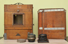 Vintage Custom FKD 24x30cm Large Wooden Camera With 2 Lenses & 2 Cassettes!