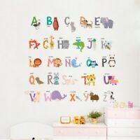 Animal Alphabet ABC Kids Wall Decals Educational Sticker Nursery Baby Room Decor