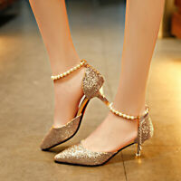 New Women's Ankle Strap Med Heels Sequin Causal Glitter Party Dress Shoes New