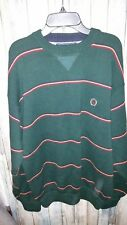 Tommy Hilfiger Mens Green Crewneck Striped Pullover Sweater Size Large