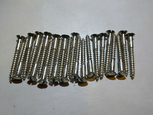 22 Vintage Dome Oval Head Chrome Plate #10 X 2 Inch Screws From Piano Fret Board