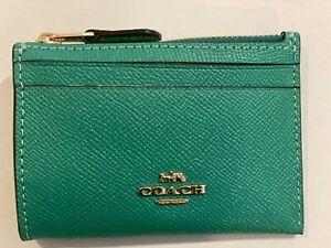 Coach Women's Mini Skinny ID Case/ credit card /Wallet key chain, Leather, green