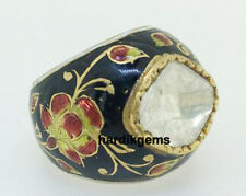 Enamel Jadau Mugal Style Ring Jewelry 22 K Solid Gold Natural Diamond Polki