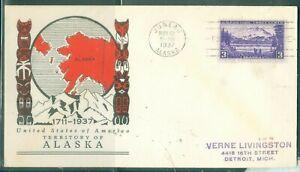 US-800-TERRITORY OF ALASKA cancel.JUNEAU ALASKA NOV 12-1937 ADDR.3c