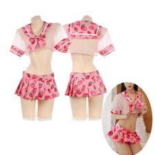 Japanese Sexy Lolita Kwaii Strawberry transparent Panty Underwear Sleepwear 2pcs