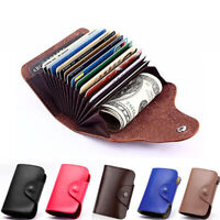 New Men Genuine Leather Aluminum Wallet Blocking Pocket Holder Credit Card Case