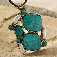 New Tara Mesa Turquoise & Biwa Pearl Patchwork Pendant