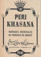 Publicité ancienne Peri Khasana produits de beauté 1943 issue de magazine