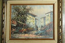 Beautiful L. FROST Impressionist Oil On Board Painting Flower Market Signed