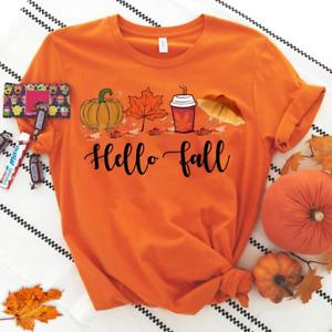 Hello Fall Autumn Leaves Shirt, Thanksgiving Pumpkin Shirt, Fall Lover Tee