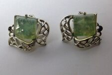 Vtg CORO Clip On Earring Silver Tone Green Yellow Opalescent Stones (k323)