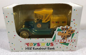 NEW Vintage Toys R Us Geoffrey 1918 Runabout Die Cast Bank ERTL 1993 SEALED