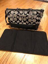 Coach F13803 BLACK Signature Stripe Diaper Baby Multi-function Tote Bag ~~EUC~~