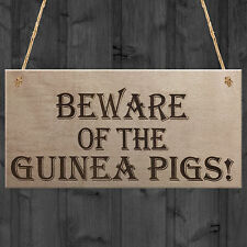Beware Of The Guinea Pigs Wooden Hanging Plaque Sign Pet Hutch Decoration Gift