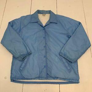 Vintage Men's Jacket Size 16 1/2 Blue Windbreaker Light Weight Button Up