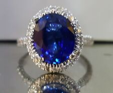 18k white gold natural oval blue sapphire ring 5.11ct